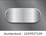 oval brushed metal plate on... | Shutterstock .eps vector #1029927139