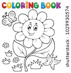 coloring book flower topic 6  ... | Shutterstock .eps vector #1029930574