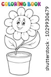 coloring book flower topic 5  ...   Shutterstock .eps vector #1029930679