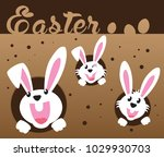 very happy easter bunny and egg ... | Shutterstock .eps vector #1029930703