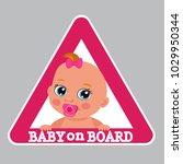 small baby boy on board bumper...   Shutterstock .eps vector #1029950344