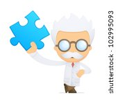 funny cartoon scientist in... | Shutterstock .eps vector #102995093