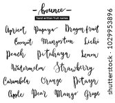 calligraphic fruit names ... | Shutterstock .eps vector #1029953896