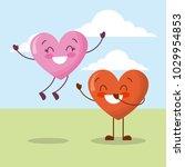 cute couple hearts love happy... | Shutterstock .eps vector #1029954853