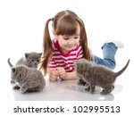 happy girl plays with a cats.... | Shutterstock . vector #102995513