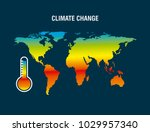 climate change map earth... | Shutterstock .eps vector #1029957340