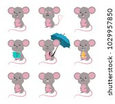 cute cartoon mouse vector set.... | Shutterstock .eps vector #1029957850