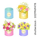 flowers in boxes set of spring... | Shutterstock .eps vector #1029969478