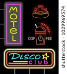 motel and disco club  set of... | Shutterstock .eps vector #1029969574