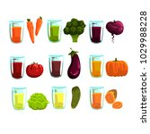 vegetable juices set  carrot ... | Shutterstock .eps vector #1029988228
