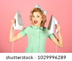 retro woman ironing clothes ... | Shutterstock . vector #1029996289