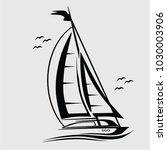 sailboat in the sea   vector   Shutterstock .eps vector #1030003906