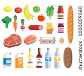 fresh food from grocery set ... | Shutterstock .eps vector #1030009360