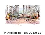 downtown street with road... | Shutterstock .eps vector #1030013818