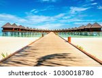 wooden bungalow on the...   Shutterstock . vector #1030018780
