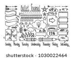 bullet journal and diary... | Shutterstock .eps vector #1030022464