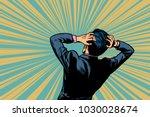 shocked man back  human... | Shutterstock .eps vector #1030028674