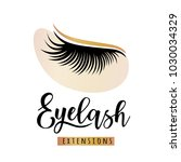 eyelash extensions logo with... | Shutterstock .eps vector #1030034329