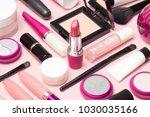 set of makeup cosmetics ... | Shutterstock . vector #1030035166