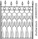 wrought iron gate  ornamental... | Shutterstock .eps vector #1030035520