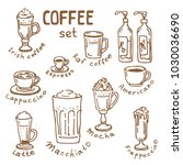set of doodle hand drawn... | Shutterstock .eps vector #1030036690