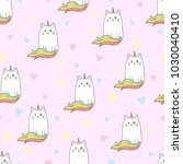 cute rainbow cat unicorn... | Shutterstock .eps vector #1030040410