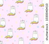 cute rainbow cat unicorn... | Shutterstock .eps vector #1030040410