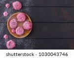 meringues cookies on wooden... | Shutterstock . vector #1030043746