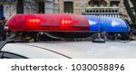 red and blue police car lights. ...   Shutterstock . vector #1030058896