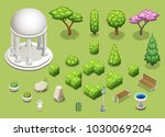 set of different trees  bushes...   Shutterstock .eps vector #1030069204