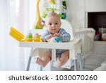 cute little toddler boy ... | Shutterstock . vector #1030070260