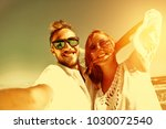 two lovers on beach and summer... | Shutterstock . vector #1030072540