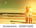 two lovers on beach and summer... | Shutterstock . vector #1030072600