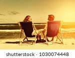 two lovers on beach and summer... | Shutterstock . vector #1030074448