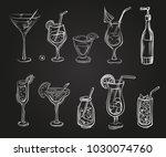 vector set of cocktail glasses... | Shutterstock .eps vector #1030074760