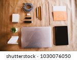 top view of modern business and ... | Shutterstock . vector #1030076050