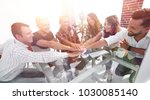 creative business team putting... | Shutterstock . vector #1030085140