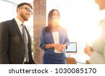 business team discussing... | Shutterstock . vector #1030085170