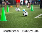 soccer ball tactics on grass... | Shutterstock . vector #1030091386