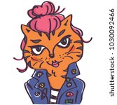 Cool Rock Style Tiger Cat With...
