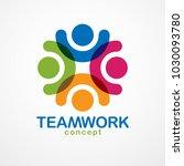 teamwork and friendship concept ... | Shutterstock .eps vector #1030093780