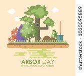 arbor day vector flat... | Shutterstock .eps vector #1030095889