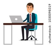businessman in workplace... | Shutterstock .eps vector #1030098319