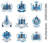 ancient citadels emblems set.... | Shutterstock .eps vector #1030102486