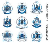 ancient citadels emblems set.... | Shutterstock .eps vector #1030102489