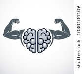 power brain emblem  genius... | Shutterstock .eps vector #1030104109