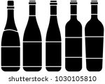 set of wine bottle silhouette. | Shutterstock .eps vector #1030105810