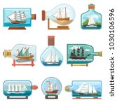 vector ship in bottle boat in... | Shutterstock .eps vector #1030106596