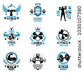 vector weightlifting theme... | Shutterstock .eps vector #1030107580