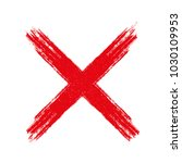 hand drawn red cross sign x   ...   Shutterstock .eps vector #1030109953